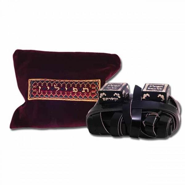 Tefillin / Tefilin - Exklusive Leder-Gebetsriemen mit burgunder Tasche