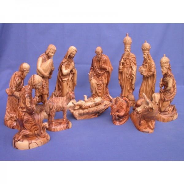 Olivenholz-Krippenfiguren mit Gesichter, 23 cm hoch