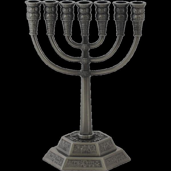 Kleine Zinn-Menorah, ca.12,5 cm