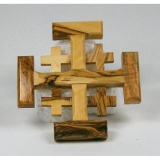 Olivenholz-Jerusalemkreuz mini