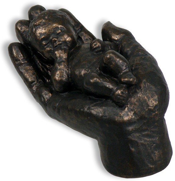 """Skulptur """"Behütet"""" bronzefarben"""