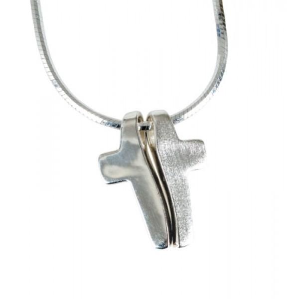 Halskette mit zweiteiligem Kreuzanhänger