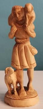 Olivenholzfigur: Hirte mit Schafe, ca. 17 cm ( feine Arbeit )