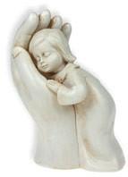 """Skulptur """"Mädchen in Hand"""" - sandfarben"""
