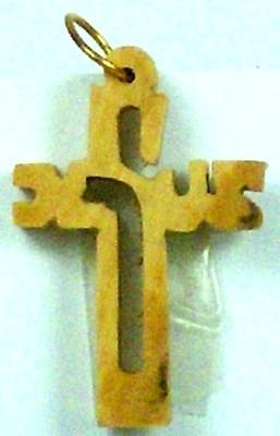 """Kettenanhänger Kreuz mit Schriftzug """"Jesus"""" (klein) - Olivenholz"""