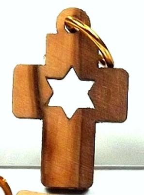 Kettenanhänger Kreuz Davidstern - Olivenholz