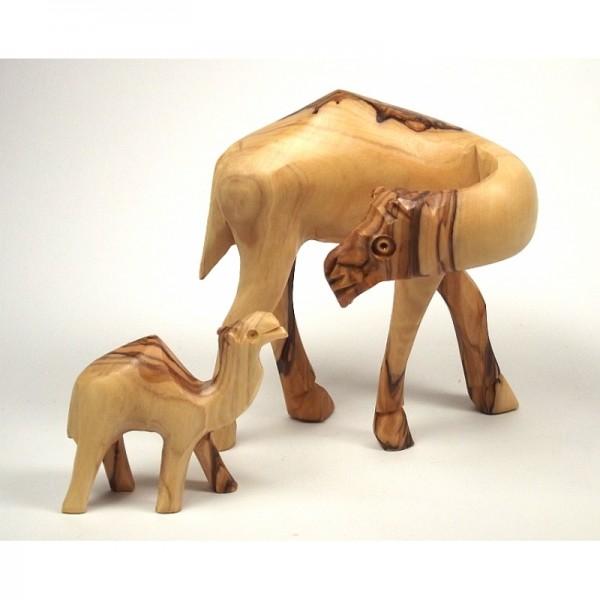Olivenholz-Figur, Kamelmutter mit Kamelkind, 11 cm