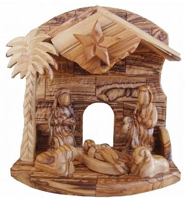 Musikalische Krippe mit Heiliger Familie (Spieluhr) - ohne Gesichter