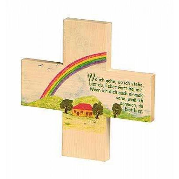Holzkreuz Regenbogen - Kindergebet