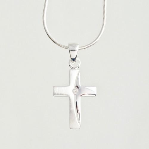 """Anhänger """"Kreuz"""" mit Zirkonia-Stein"""