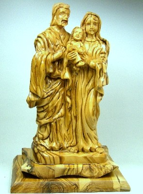 "Olivenholz-Figur ""Heilige Familie"" - feine Schnitzarbeit"
