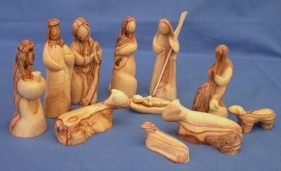 Olivenholz-Krippenfiguren ohne Gesichter (ohne Stall)