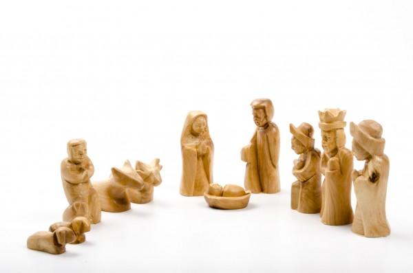 Olivenholz-Krippenfiguren mit Gesichtern, 8,5 cm (ohne Stall)