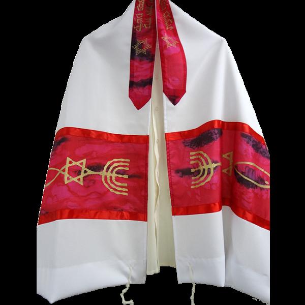 Tallit aus Seide (Galiläa) mit Urchristenzeiuchen (Rot)