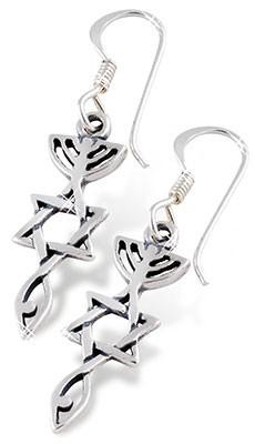versilberte Ohrhänger, messianisches Zeichen