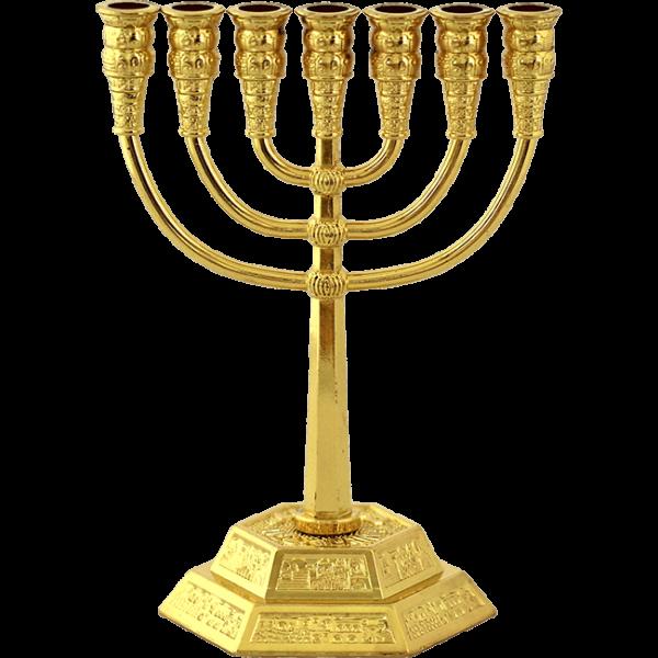 Kleine vergoldete Menorah, ca.12,5 cm