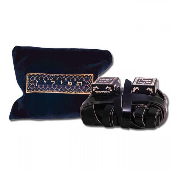 Tefillin / Tefilin - Exklusive Leder-Gebetsriemen mit blauer Tasche