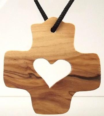 Kette Kreuz mit Herz - Olivenholz