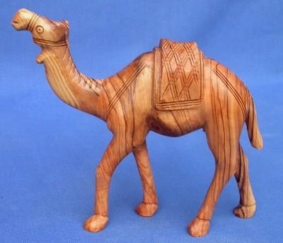 Olivenholz-Kamel, stehend - ca. 13 cm