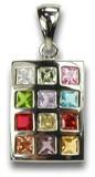 Kettenanhänger mit 12 farbigen Glassteinen