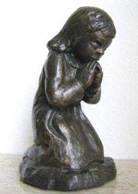 Werde stille im Gebet - Bronzefarbener Steinguss