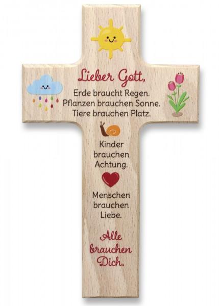 """Holzkreuz """"Lieber Gott"""""""