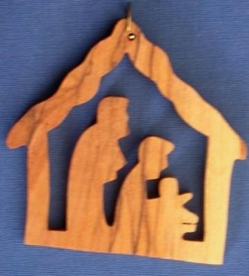 """Weihnachtsbaumanhänger """"Heilige Familie im Stall"""""""