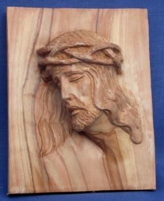 "Olivenholz-Wandbild ""Jesus mit Dornenkrone"" - groß -"