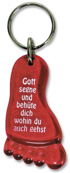 Schlüsselanhänger Fuß mit Segensgruß in Rot