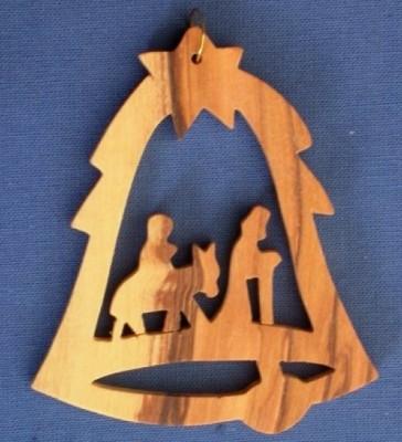 """Glockenförmiger weihnachtlicher Anhänger """"Krippe"""""""