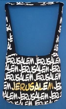 """Umhängetasche """"Jerusalem"""" schwarz-weiß-golden"""