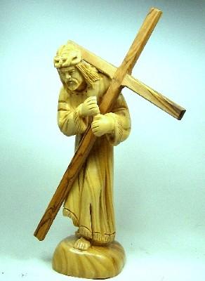 "Olivenholz-Figur ""Jesus trägt sein Kreuz"""
