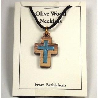 Halskette Kreuz mit farbiger Füllung (blau) - Olivenholz