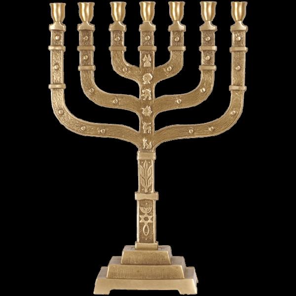 Große Menorah mit Urchristenzeichen, 44 cm
