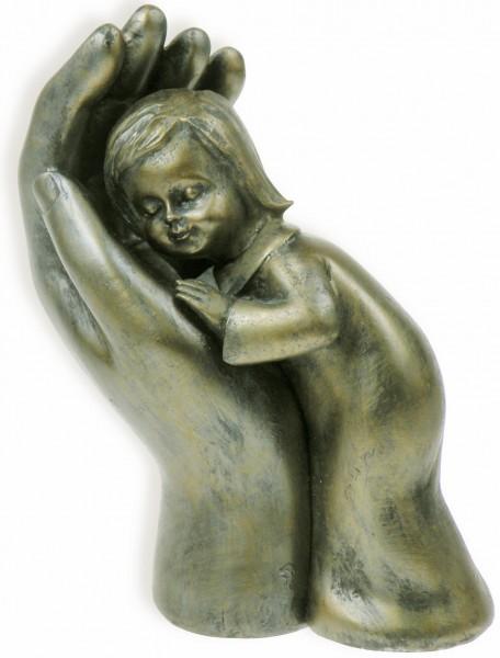 """Skulptur """"Mädchen in Hand"""", 10 cm - Bronze"""