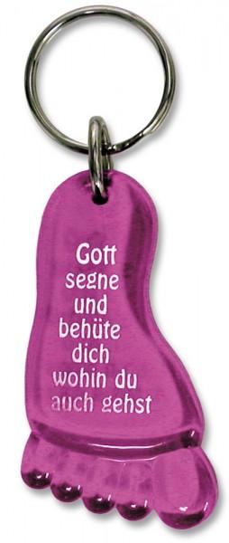 Schlüsselanhänger Fuß mit Segensgruß in Pink