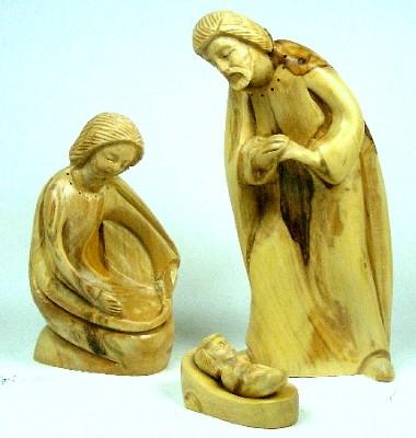 """Olivenholz-Figur """"Heilige Familie"""" - dreiteilig"""