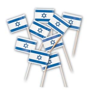 Israelfahne als Sticker-Fähnchen, Set mit 25 Stück