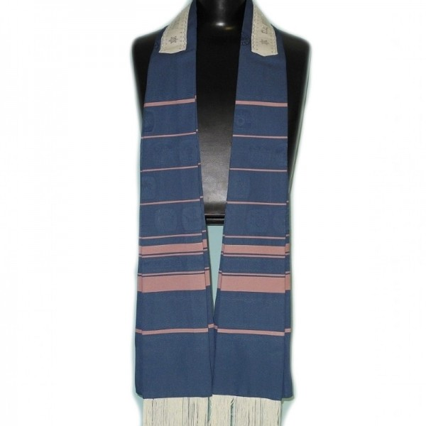Exclusiver & Eleganter Tallit in blau & burgunden Streifen
