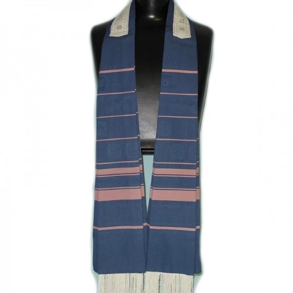 Exclusiver & Eleganter Tallit in blau & burgunden Streifen