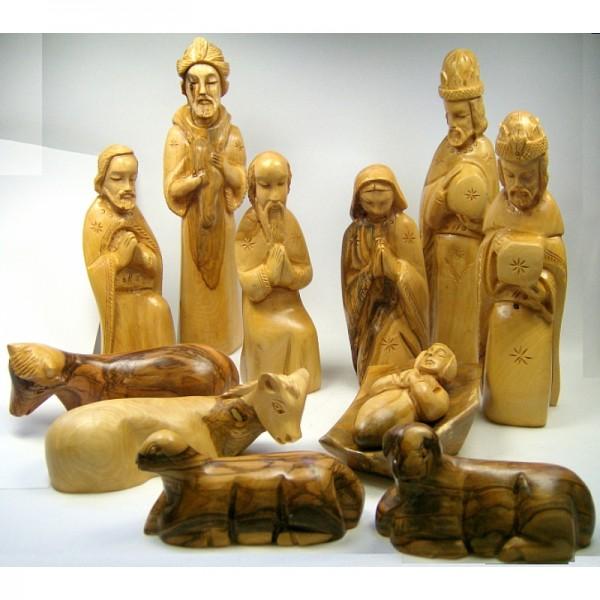 Olivenholz-Krippenfiguren mit Gesichtern, 18 cm hoch