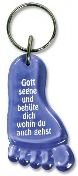 Schlüsselanhänger Fuß mit Segensgruß in Blau